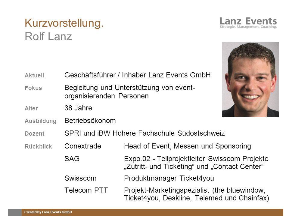 Created by Lanz Events GmbH Kurzvorstellung. Rolf Lanz Aktuell Geschäftsführer / Inhaber Lanz Events GmbH Fokus Begleitung und Unterstützung von event