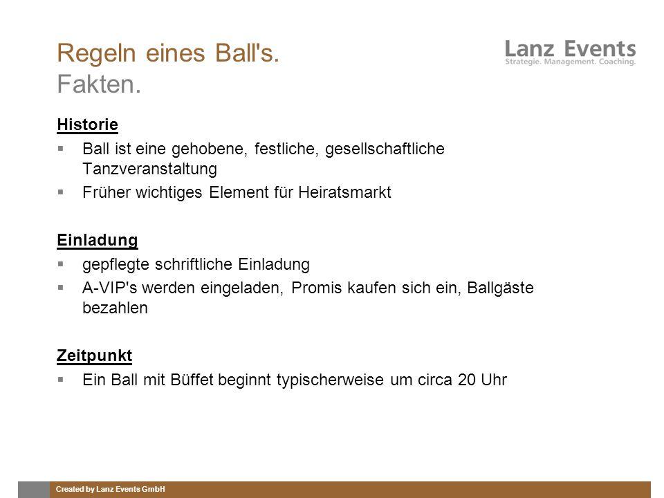 Created by Lanz Events GmbH Regeln eines Ball's. Fakten. Historie Ball ist eine gehobene, festliche, gesellschaftliche Tanzveranstaltung Früher wichti