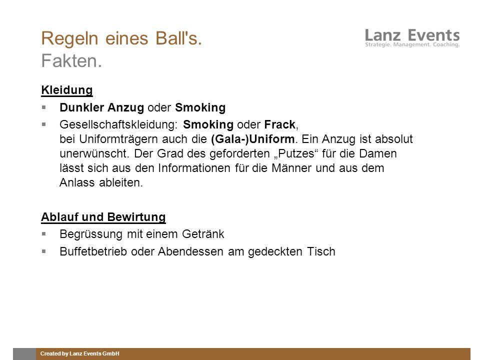 Created by Lanz Events GmbH Regeln eines Ball's. Fakten. Kleidung Dunkler Anzug oder Smoking Gesellschaftskleidung: Smoking oder Frack, bei Uniformträ