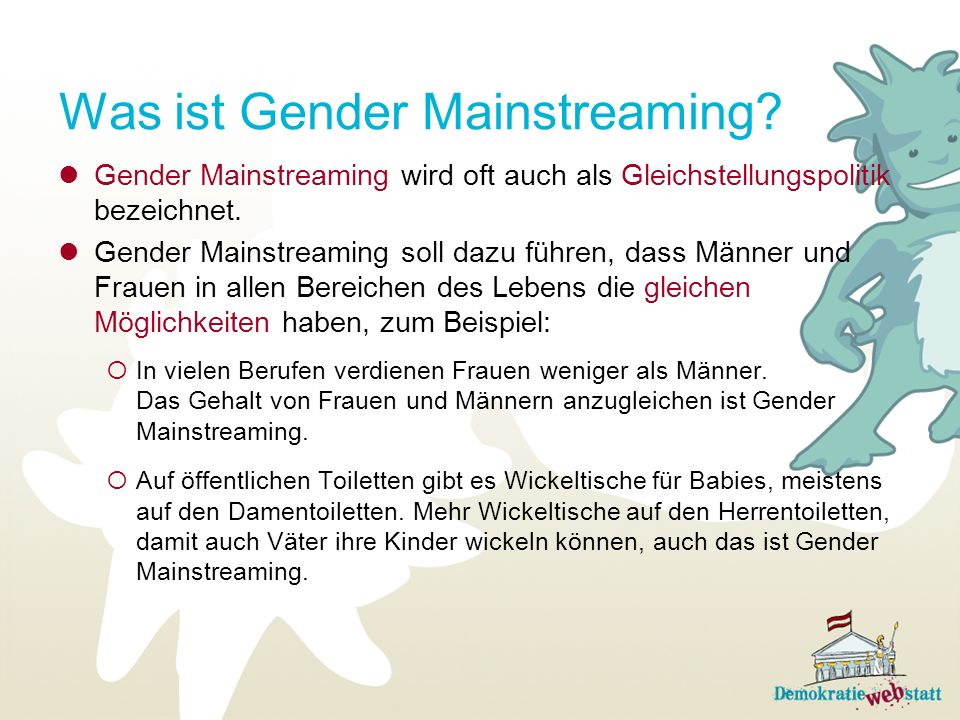 Was ist Gender Mainstreaming.