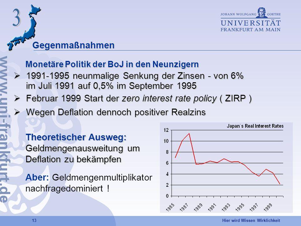 Hier wird Wissen Wirklichkeit 13 Gegenmaßnahmen Monetäre Politik der BoJ in den Neunzigern 1991-1995 neunmalige Senkung der Zinsen - von 6% im Juli 19