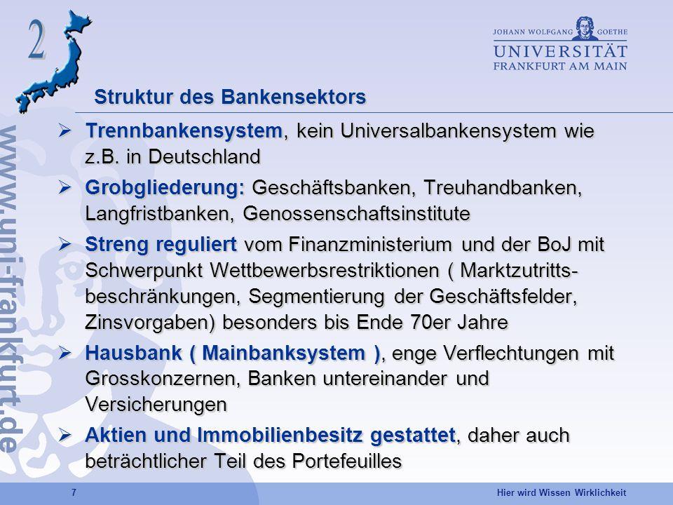 Hier wird Wissen Wirklichkeit 7 Struktur des Bankensektors Trennbankensystem, kein Universalbankensystem wie z.B. in Deutschland Trennbankensystem, ke