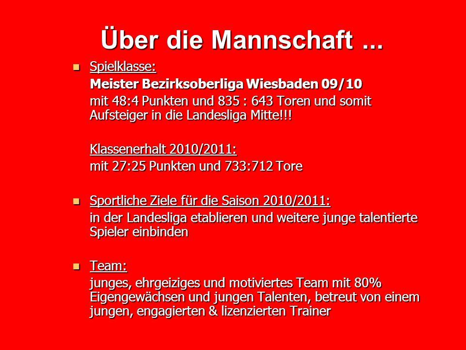 Über die Mannschaft... Spielklasse: Spielklasse: Meister Bezirksoberliga Wiesbaden 09/10 mit 48:4 Punkten und 835 : 643 Toren und somit Aufsteiger in