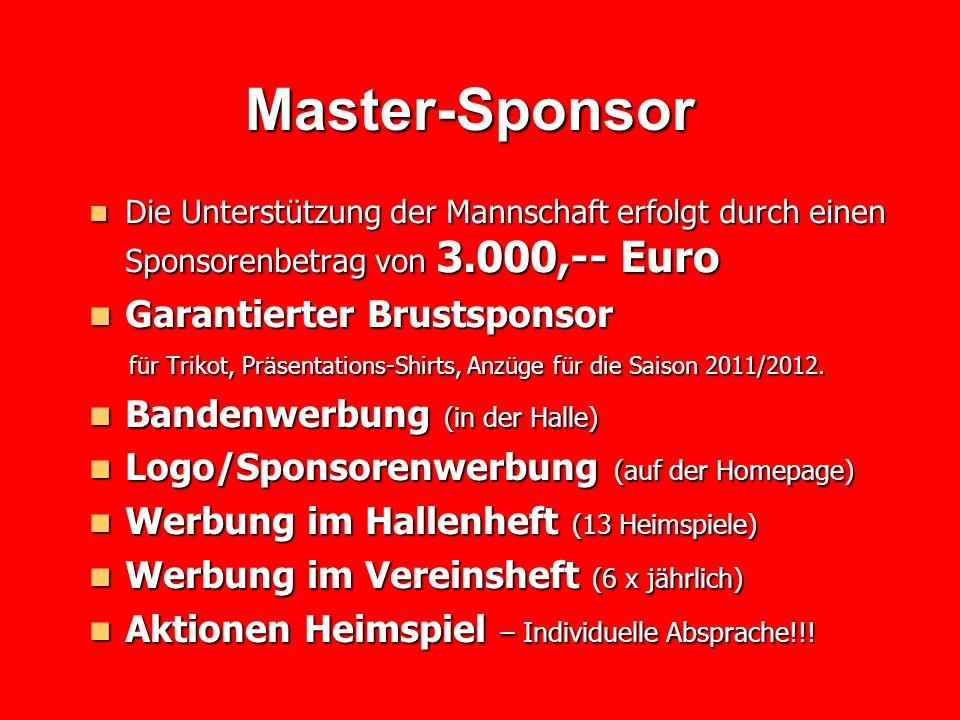 Hauptsponsor Hauptsponsor Die Unterstützung der Mannschaft erfolgt durch einen Sponsorenbetrag von 1.500,-- Euro Die Unterstützung der Mannschaft erfolgt durch einen Sponsorenbetrag von 1.500,-- Euro Werbung Trikots, Auflaufshirt oder Anzug Werbung Trikots, Auflaufshirt oder Anzug für die Saison 2011/2012 (Rückseite Trikot, Hose oder Trainingsanzug) für die Saison 2011/2012 (Rückseite Trikot, Hose oder Trainingsanzug) Logo/Sponsorenwerbung (auf der Homepage) Logo/Sponsorenwerbung (auf der Homepage) Werbung im Hallenheft (13 Heimspiele) Werbung im Hallenheft (13 Heimspiele) Werbung im Vereinsheft (6 x jährlich) Werbung im Vereinsheft (6 x jährlich)