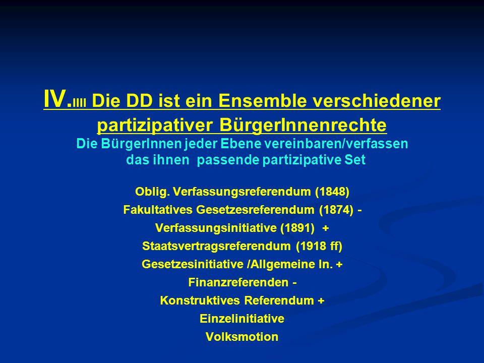 IV. IIII Die DD ist ein Ensemble verschiedener partizipativer BürgerInnenrechte Die BürgerInnen jeder Ebene vereinbaren/verfassen das ihnen passende p