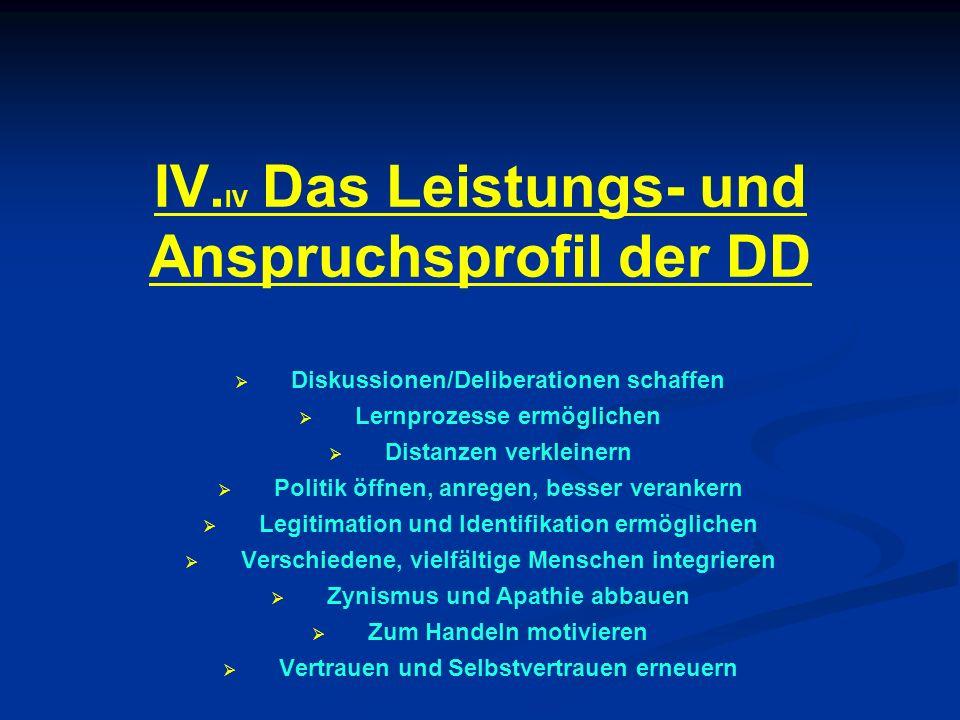 IV. IV Das Leistungs- und Anspruchsprofil der DD Diskussionen/Deliberationen schaffen Lernprozesse ermöglichen Distanzen verkleinern Politik öffnen, a