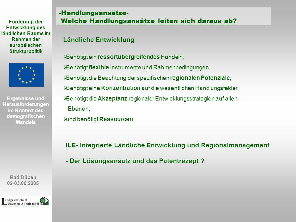 Bad Düben 02-03.06.2005 Förderung der Entwicklung des ländlichen Raums im Rahmen der europäischen Strukturpolitik Ergebnisse und Herausforderungen im Kontext des demografischen Wandels -Handlungsansätze- Welche Handlungsansätze leiten sich daraus ab.