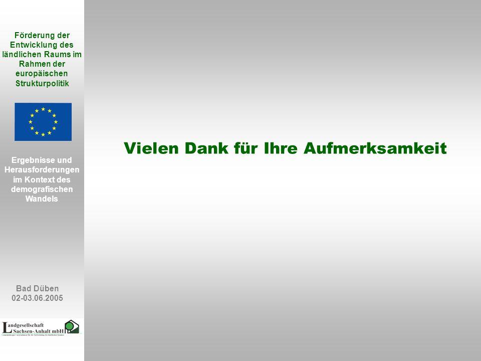 Bad Düben 02-03.06.2005 Förderung der Entwicklung des ländlichen Raums im Rahmen der europäischen Strukturpolitik Ergebnisse und Herausforderungen im Kontext des demografischen Wandels Vielen Dank für Ihre Aufmerksamkeit