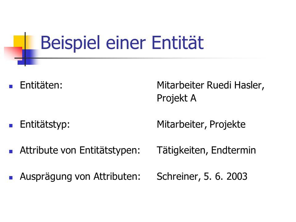 Beispiel einer Entität Entitäten:Mitarbeiter Ruedi Hasler, Projekt A Entitätstyp:Mitarbeiter, Projekte Attribute von Entitätstypen:Tätigkeiten, Endter