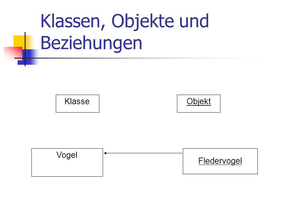 Klassen, Objekte und Beziehungen KlasseObjekt Vogel Fledervogel