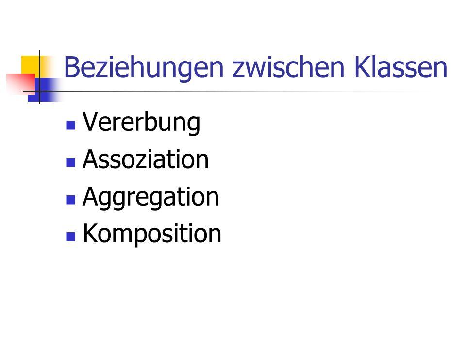 Beziehungen zwischen Klassen Vererbung Assoziation Aggregation Komposition