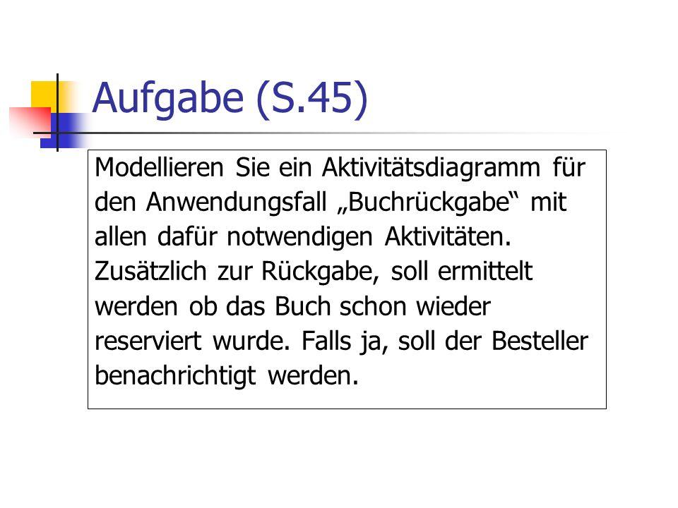 Aufgabe (S.45) Modellieren Sie ein Aktivitätsdiagramm für den Anwendungsfall Buchrückgabe mit allen dafür notwendigen Aktivitäten. Zusätzlich zur Rück