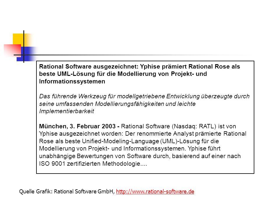 Rational Software ausgezeichnet: Yphise prämiert Rational Rose als beste UML-Lösung für die Modellierung von Projekt- und Informationssystemen Das füh