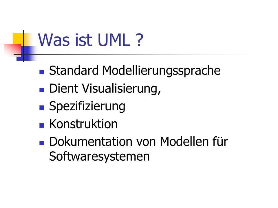 Was ist UML ? Standard Modellierungssprache Dient Visualisierung, Spezifizierung Konstruktion Dokumentation von Modellen für Softwaresystemen