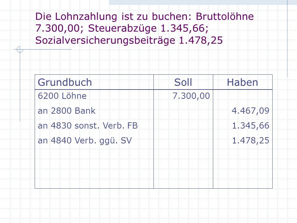 Die Lohnzahlung ist zu buchen: Bruttolöhne 7.300,00; Steuerabzüge 1.345,66; Sozialversicherungsbeiträge 1.478,25 GrundbuchSollHaben 6200 Löhne an 2800 Bank an 4830 sonst.