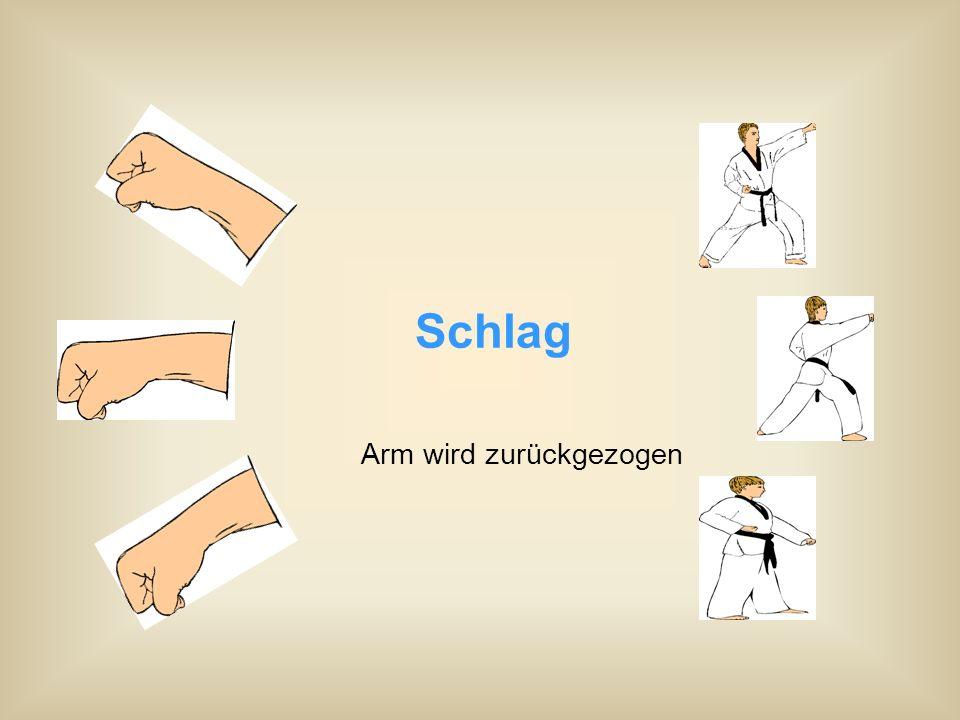 Schlag Arm wird zurückgezogen