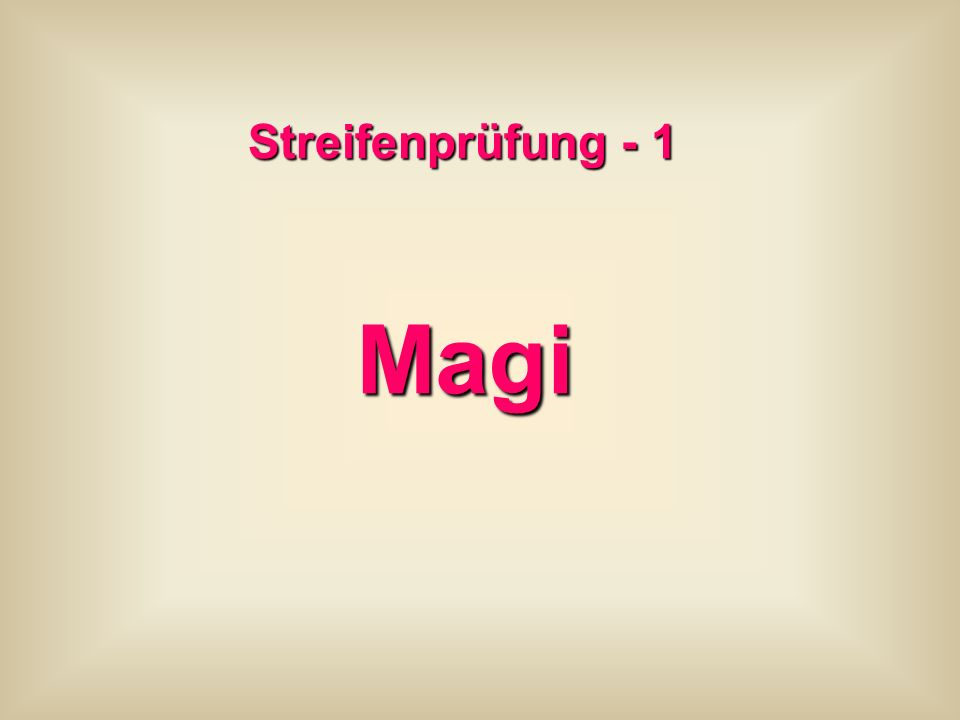 Streifenprüfung - 1 Magi