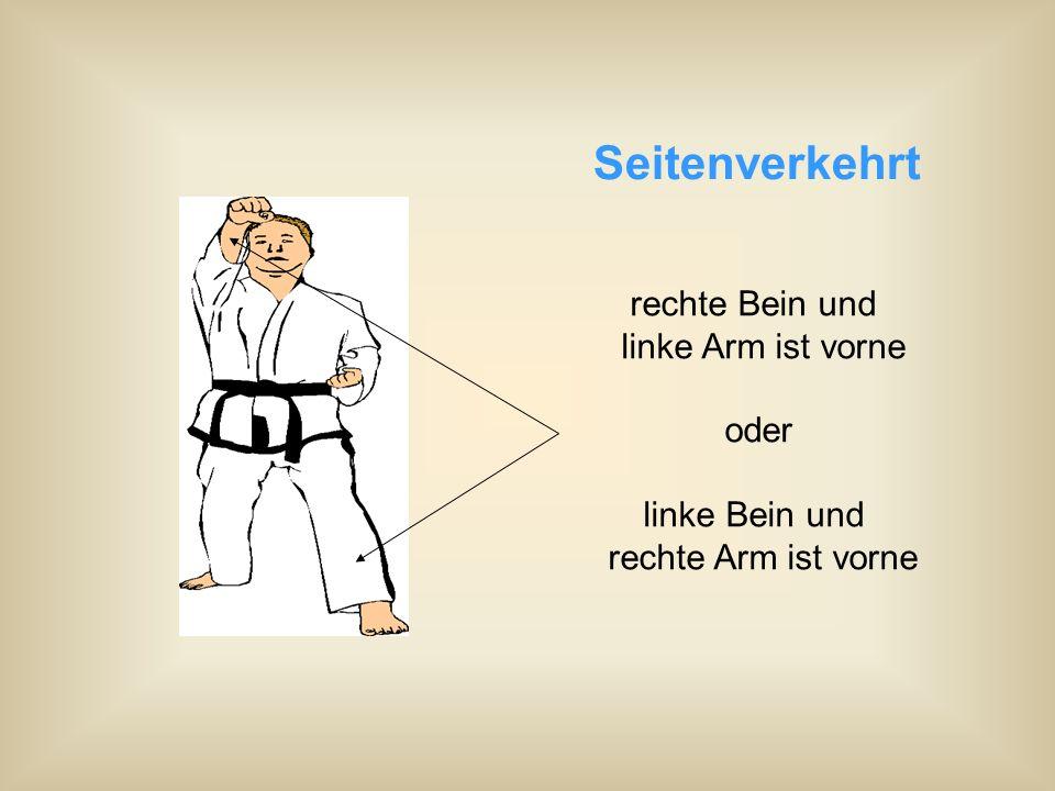Seitenverkehrt rechte Bein und linke Arm ist vorne oder linke Bein und rechte Arm ist vorne