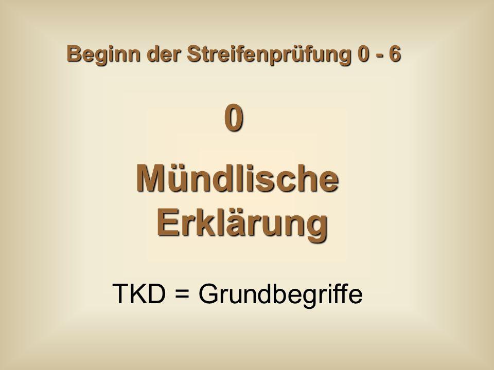 Beginn der Streifenprüfung 0 - 6 MündlischeErklärung TKD = Grundbegriffe 0