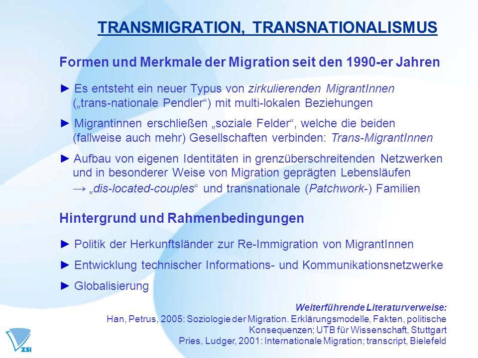 TRANSMIGRATION, TRANSNATIONALISMUS Formen und Merkmale der Migration seit den 1990-er Jahren Es entsteht ein neuer Typus von zirkulierenden MigrantInnen (trans-nationale Pendler) mit multi-lokalen Beziehungen Migrantinnen erschließen soziale Felder, welche die beiden (fallweise auch mehr) Gesellschaften verbinden: Trans-MigrantInnen Aufbau von eigenen Identitäten in grenzüberschreitenden Netzwerken und in besonderer Weise von Migration geprägten Lebensläufen dis-located-couples und transnationale (Patchwork-) Familien Hintergrund und Rahmenbedingungen Politik der Herkunftsländer zur Re-Immigration von MigrantInnen Entwicklung technischer Informations- und Kommunikationsnetzwerke Globalisierung Weiterführende Literaturverweise: Han, Petrus, 2005: Soziologie der Migration.