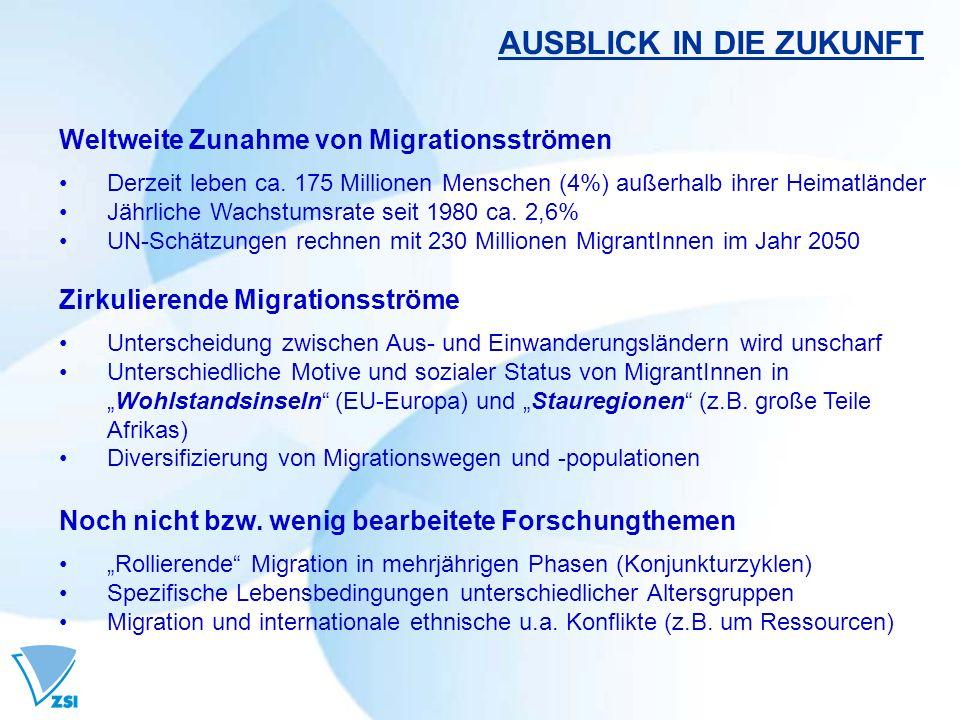 AUSBLICK IN DIE ZUKUNFT Weltweite Zunahme von Migrationsströmen Derzeit leben ca.