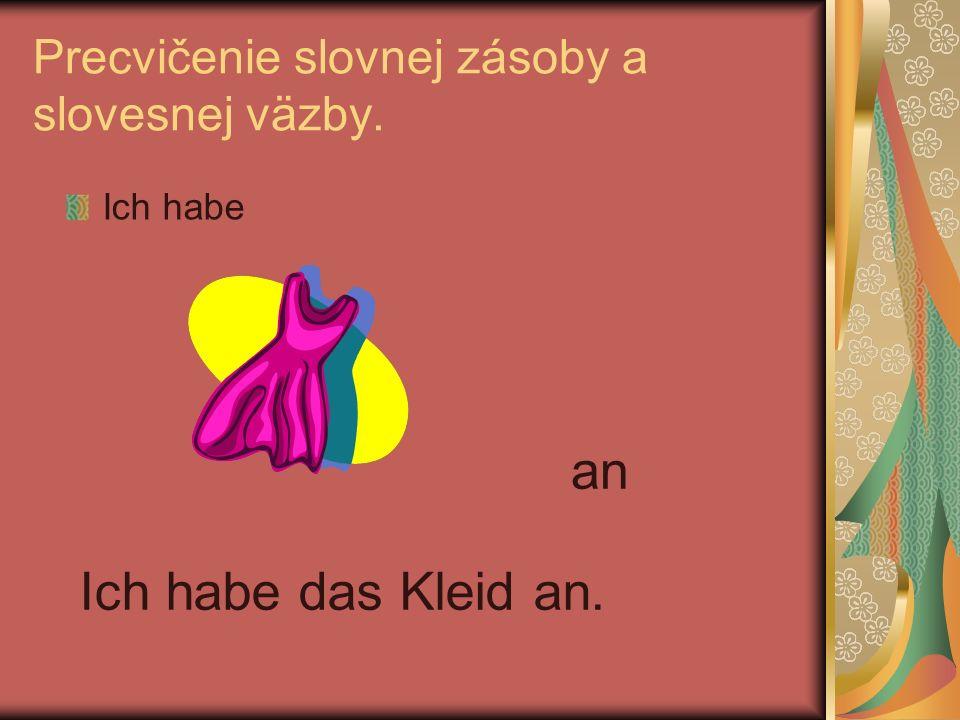 Precvičenie slovnej zásoby a slovesnej väzby. Ich habe an Ich habe das Kleid an.