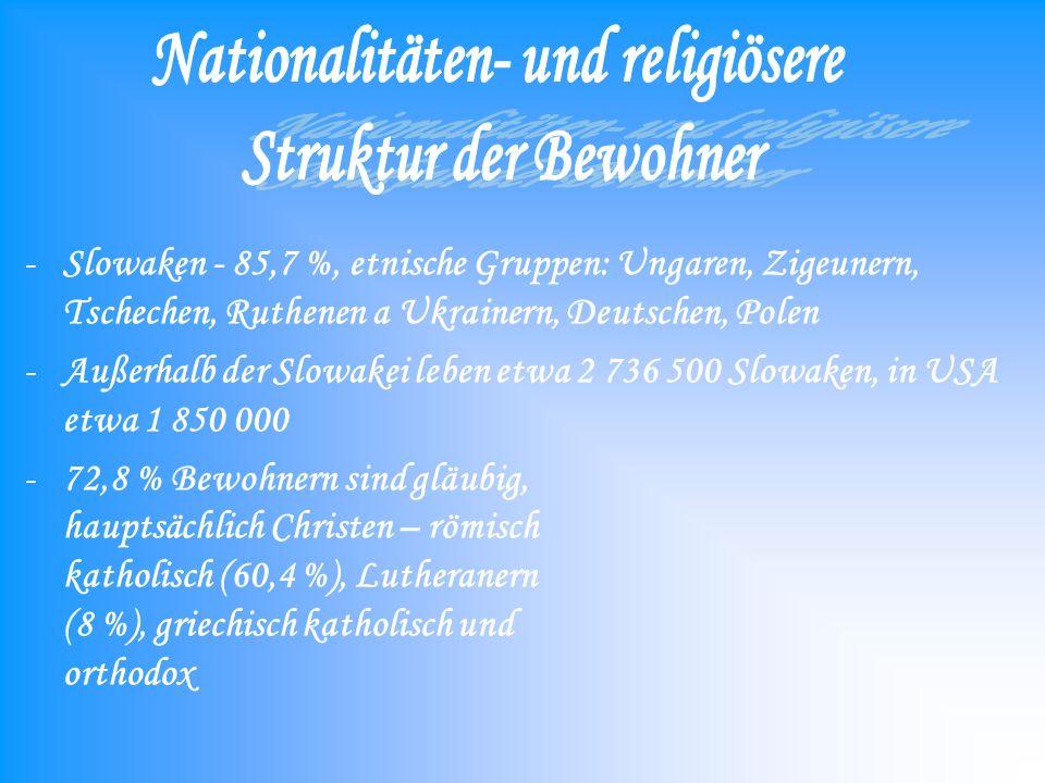 -Slowaken - 85,7 %, etnische Gruppen: Ungaren, Zigeunern, Tschechen, Ruthenen a Ukrainern, Deutschen, Polen -Außerhalb der Slowakei leben etwa 2 736 500 Slowaken, in USA etwa 1 850 000 -72,8 % Bewohnern sind gläubig, hauptsächlich Christen – römisch katholisch (60,4 %), Lutheranern (8 %), griechisch katholisch und orthodox