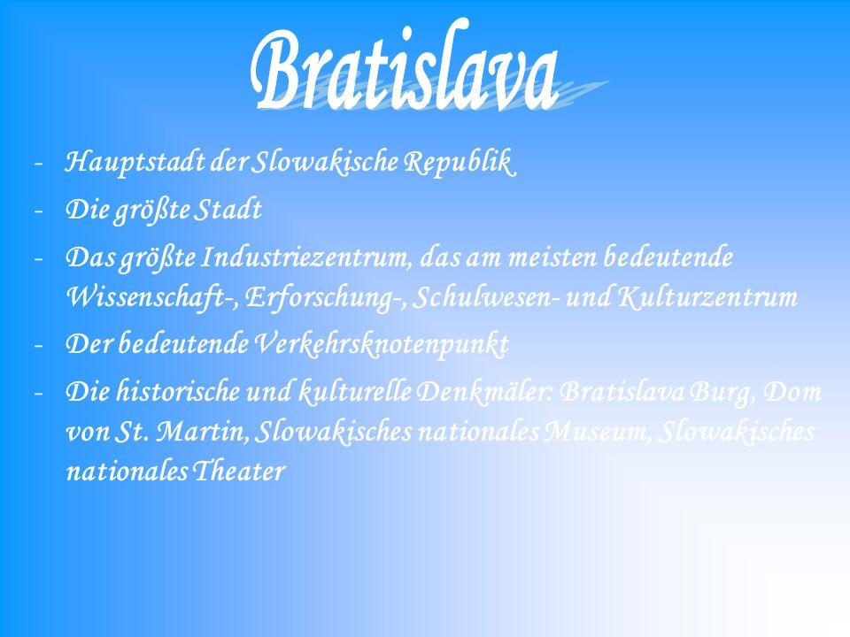 -Hauptstadt der Slowakische Republik -Die größte Stadt -Das größte Industriezentrum, das am meisten bedeutende Wissenschaft-, Erforschung-, Schulwesen- und Kulturzentrum -Der bedeutende Verkehrsknotenpunkt -Die historische und kulturelle Denkmäler: Bratislava Burg, Dom von St.