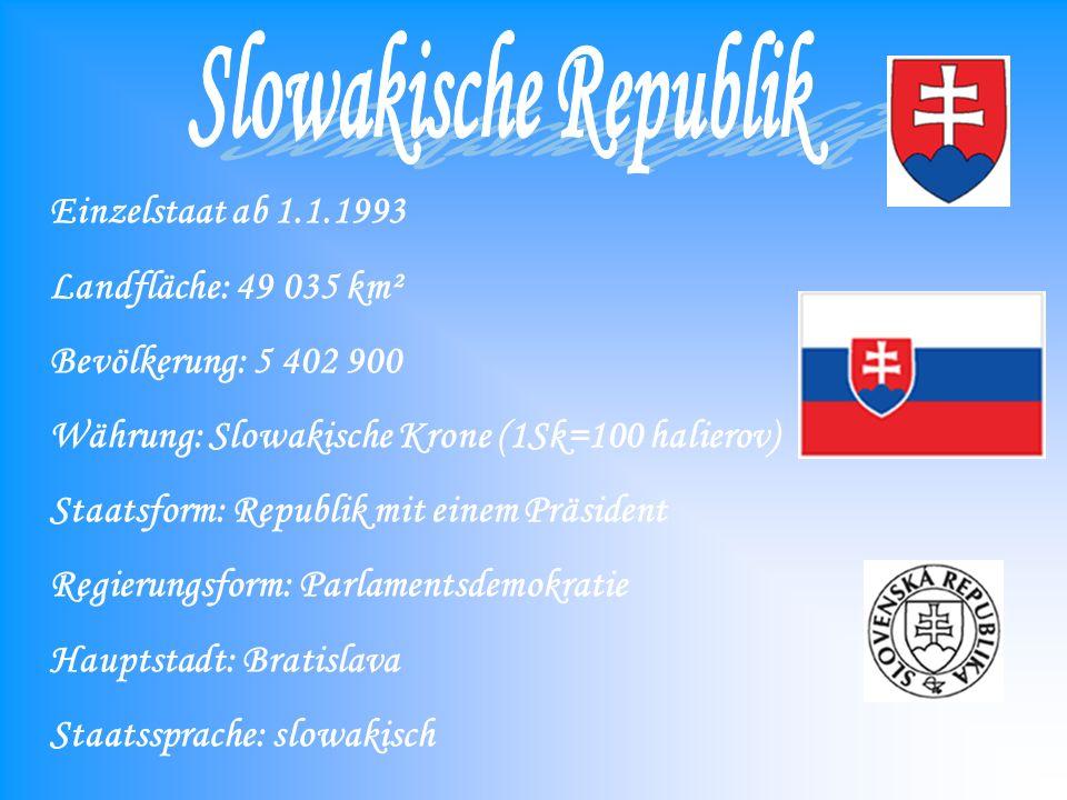 Einzelstaat ab 1.1.1993 Landfläche: 49 035 km² Bevölkerung: 5 402 900 Währung: Slowakische Krone (1Sk=100 halierov) Staatsform: Republik mit einem Präsident Regierungsform: Parlamentsdemokratie Hauptstadt: Bratislava Staatssprache: slowakisch