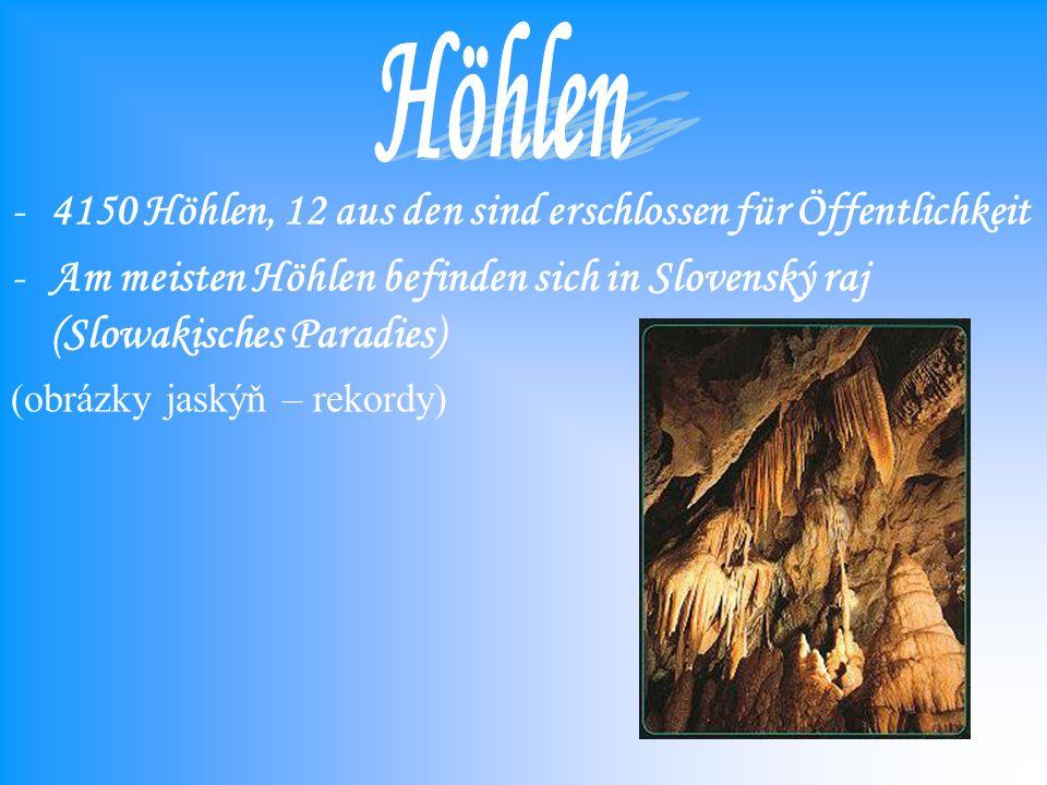 -4150 Höhlen, 12 aus den sind erschlossen für Öffentlichkeit -Am meisten Höhlen befinden sich in Slovenský raj (Slowakisches Paradies) (obrázky jaskýň – rekordy)