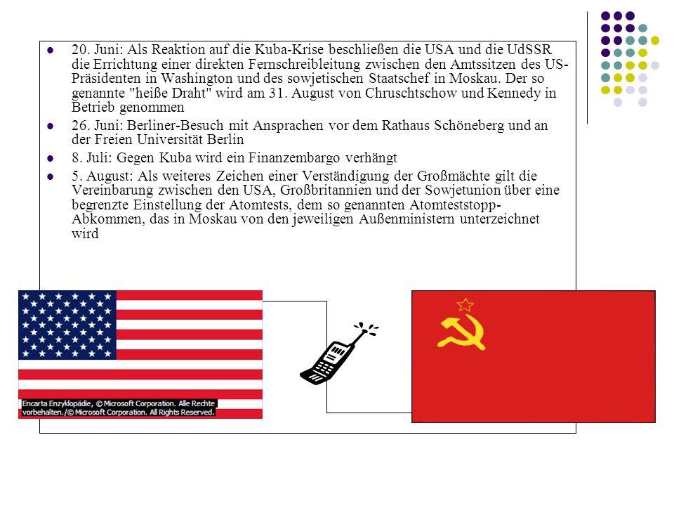 20. Juni: Als Reaktion auf die Kuba-Krise beschließen die USA und die UdSSR die Errichtung einer direkten Fernschreibleitung zwischen den Amtssitzen d