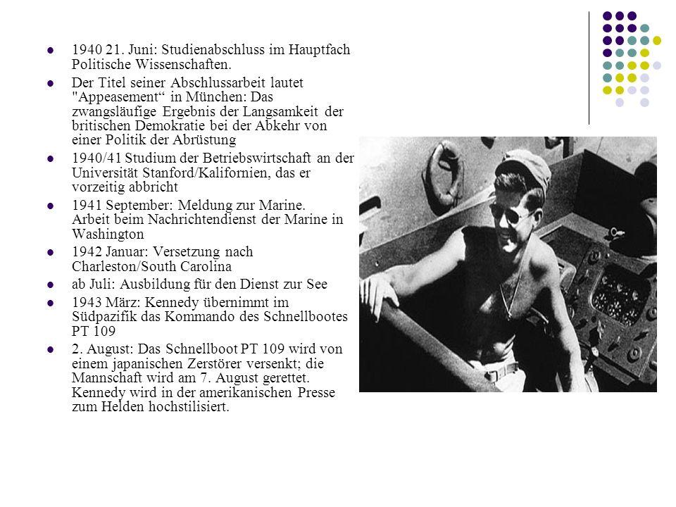 1940 21.Juni: Studienabschluss im Hauptfach Politische Wissenschaften.