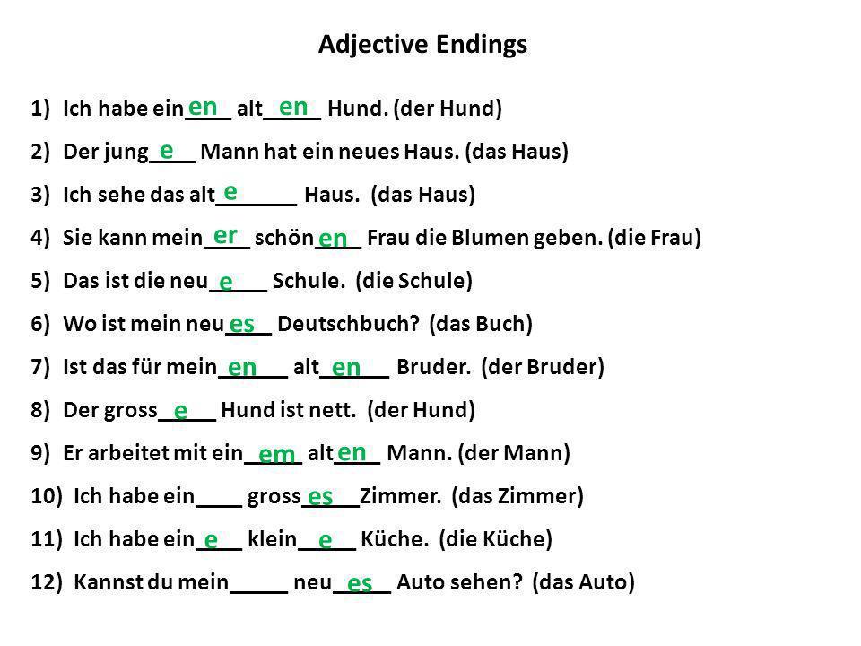 Adjective Endings 1)Ich habe ein____ alt_____ Hund. (der Hund) 2)Der jung____ Mann hat ein neues Haus. (das Haus) 3)Ich sehe das alt_______ Haus. (das
