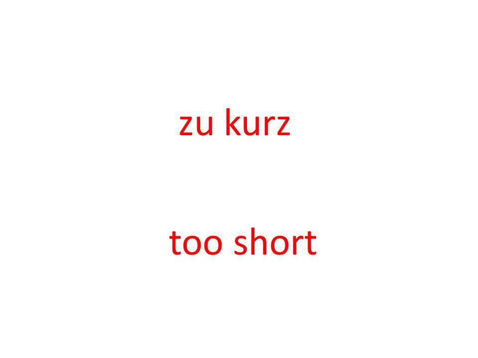 zu kurz too short