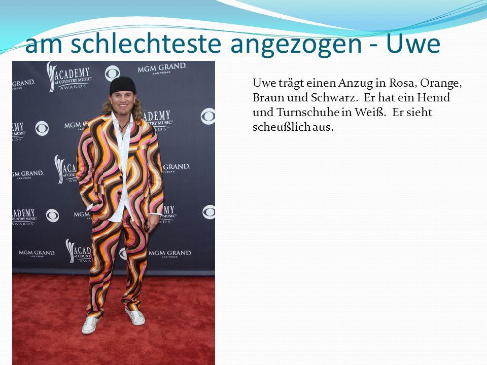 am schlechteste angezogen - Uwe Uwe trägt einen Anzug in Rosa, Orange, Braun und Schwarz.