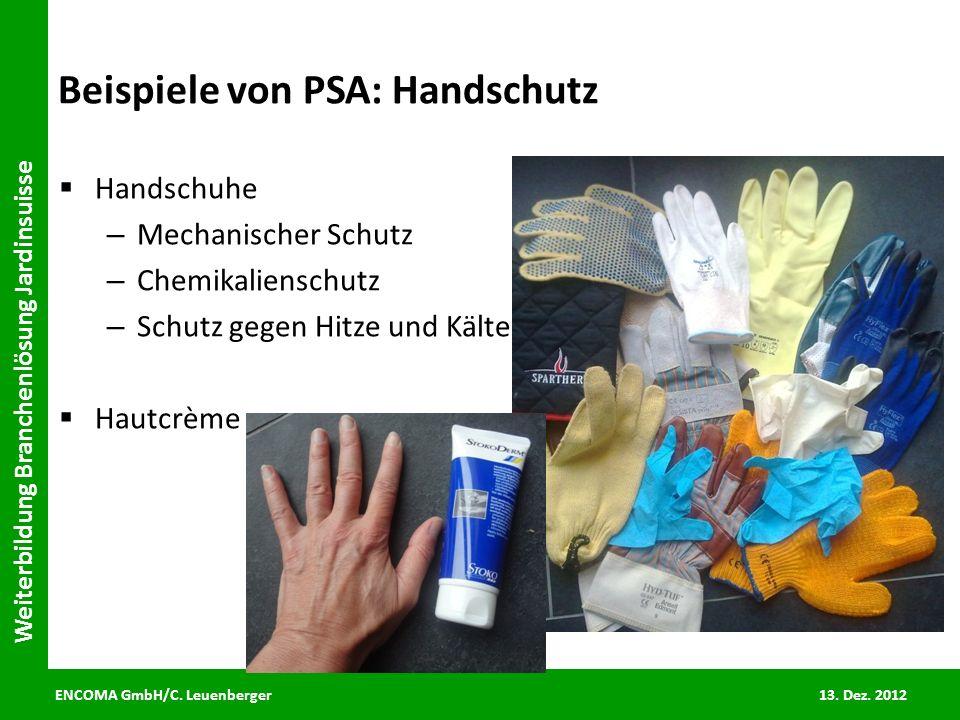 ENCOMA GmbH/C. Leuenberger 13. Dez. 2012 Weiterbildung Branchenlösung Jardinsuisse Beispiele von PSA: Handschutz Handschuhe – Mechanischer Schutz – Ch