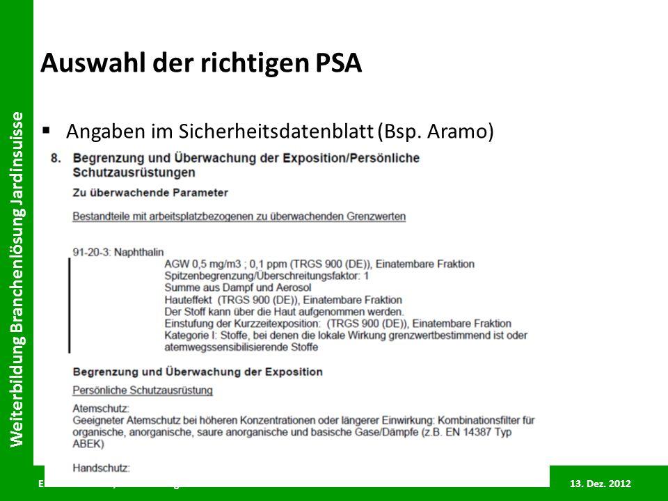 ENCOMA GmbH/C. Leuenberger 13. Dez. 2012 Weiterbildung Branchenlösung Jardinsuisse Auswahl der richtigen PSA Angaben im Sicherheitsdatenblatt (Bsp. Ar