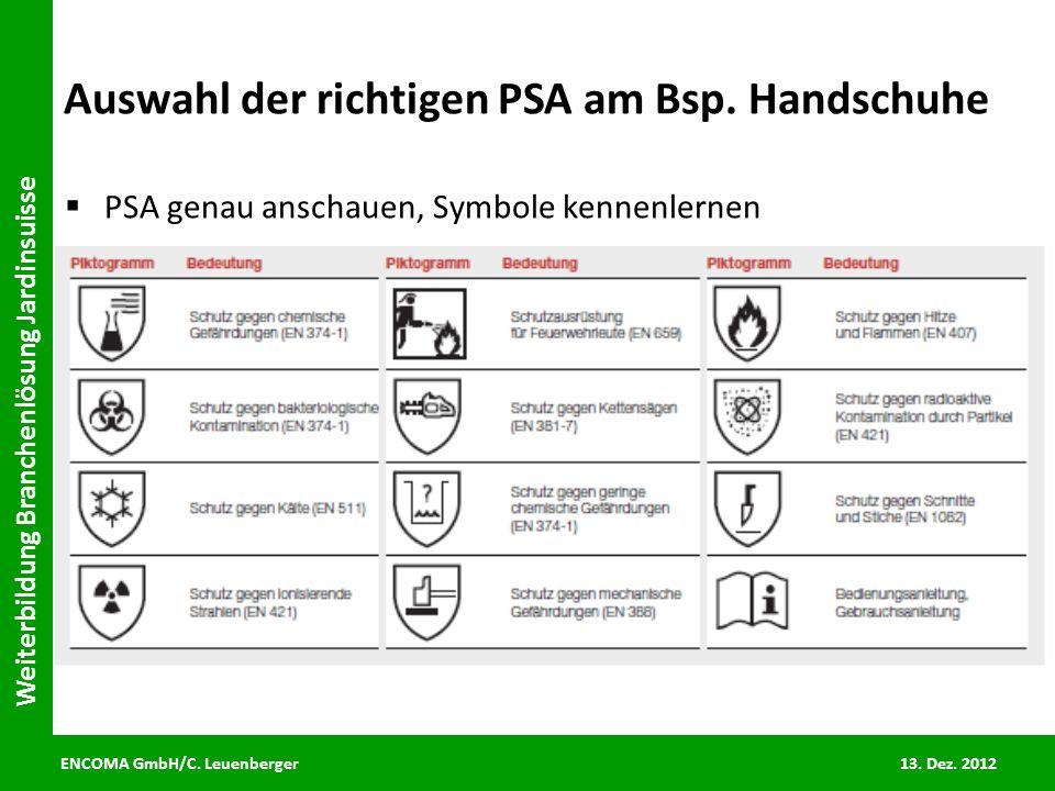 ENCOMA GmbH/C. Leuenberger 13. Dez. 2012 Weiterbildung Branchenlösung Jardinsuisse Auswahl der richtigen PSA am Bsp. Handschuhe PSA genau anschauen, S