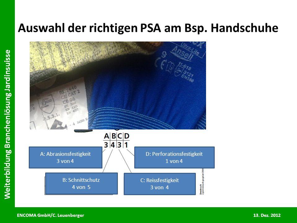ENCOMA GmbH/C. Leuenberger 13. Dez. 2012 Weiterbildung Branchenlösung Jardinsuisse Auswahl der richtigen PSA am Bsp. Handschuhe A: Abrasionsfestigkeit