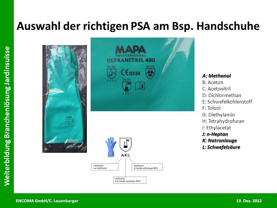 ENCOMA GmbH/C. Leuenberger 13. Dez. 2012 Weiterbildung Branchenlösung Jardinsuisse Auswahl der richtigen PSA am Bsp. Handschuhe A: Methanol B: Aceton