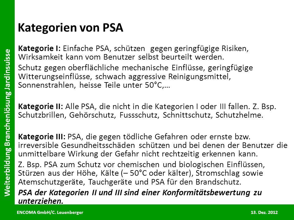ENCOMA GmbH/C. Leuenberger 13. Dez. 2012 Weiterbildung Branchenlösung Jardinsuisse Kategorien von PSA Kategorie I: Einfache PSA, schützen gegen gering