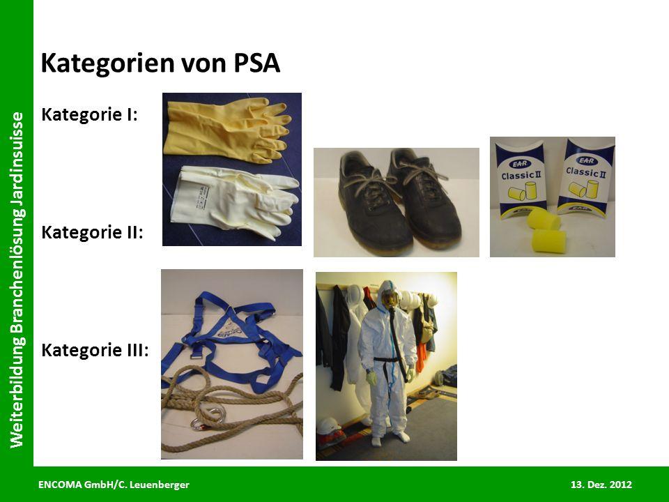 ENCOMA GmbH/C. Leuenberger 13. Dez. 2012 Weiterbildung Branchenlösung Jardinsuisse Kategorien von PSA Kategorie I: Kategorie II: Kategorie III:
