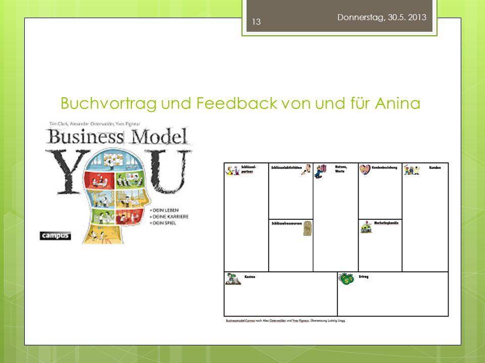 Buchvortrag und Feedback von und für Anina Donnerstag, 30.5. 2013 13