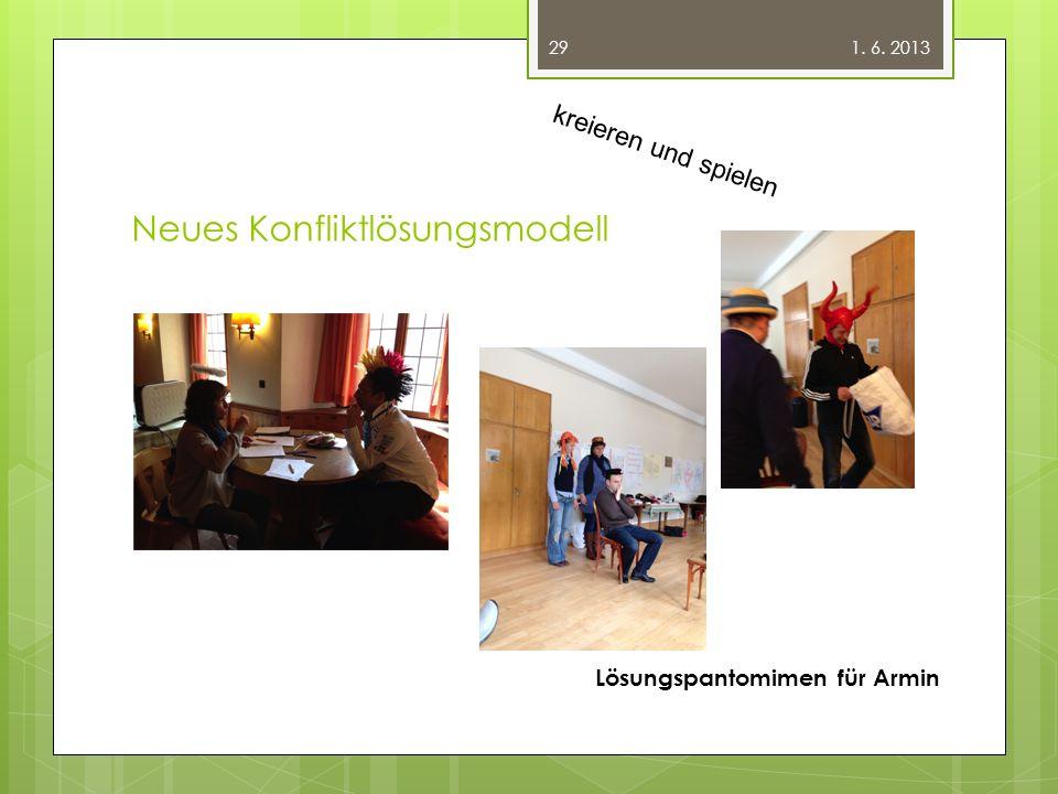 Neues Konfliktlösungsmodell 1. 6. 2013 Lösungspantomimen für Armin 29 kreieren und spielen