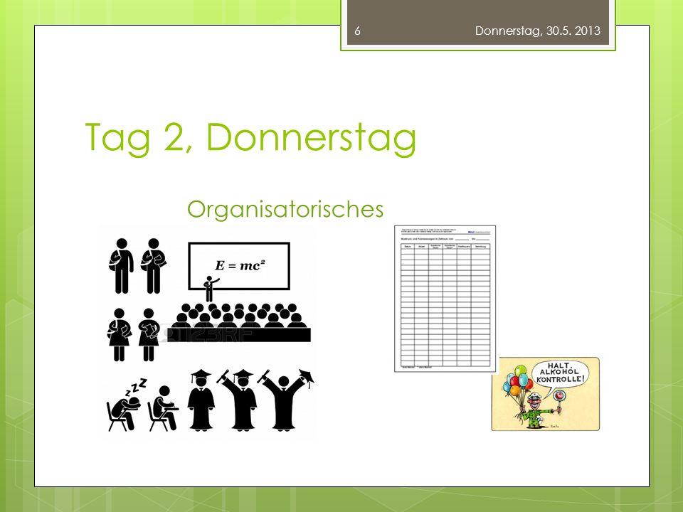Tag 2, Donnerstag Organisatorisches Donnerstag, 30.5. 2013 6