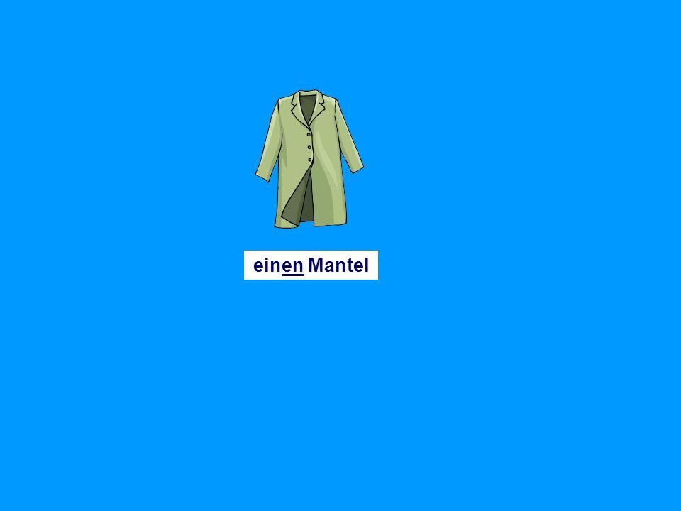 einen Pullovereinen Anorakeinen Rock einen Schaleinen Huteinen Schlipseinen Anzug eine (Leder)jacke eine Mützeeine Hoseeine Bluse