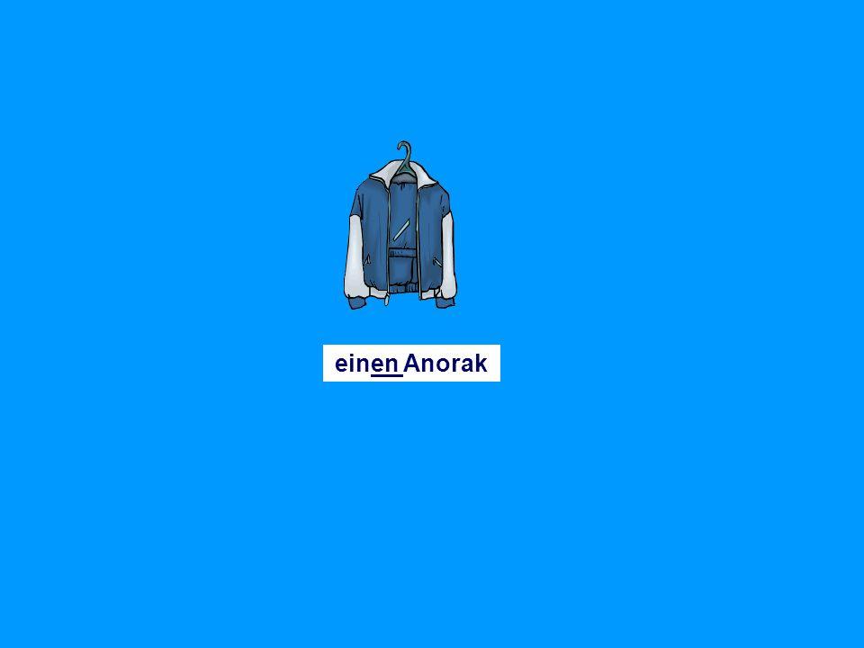 einen Manteleinen Pullovereinen Rock einen Schaleinen Huteinen Schlipseinen Anzug eine (Leder)jacke eine Mützeeine Hoseeine Bluse