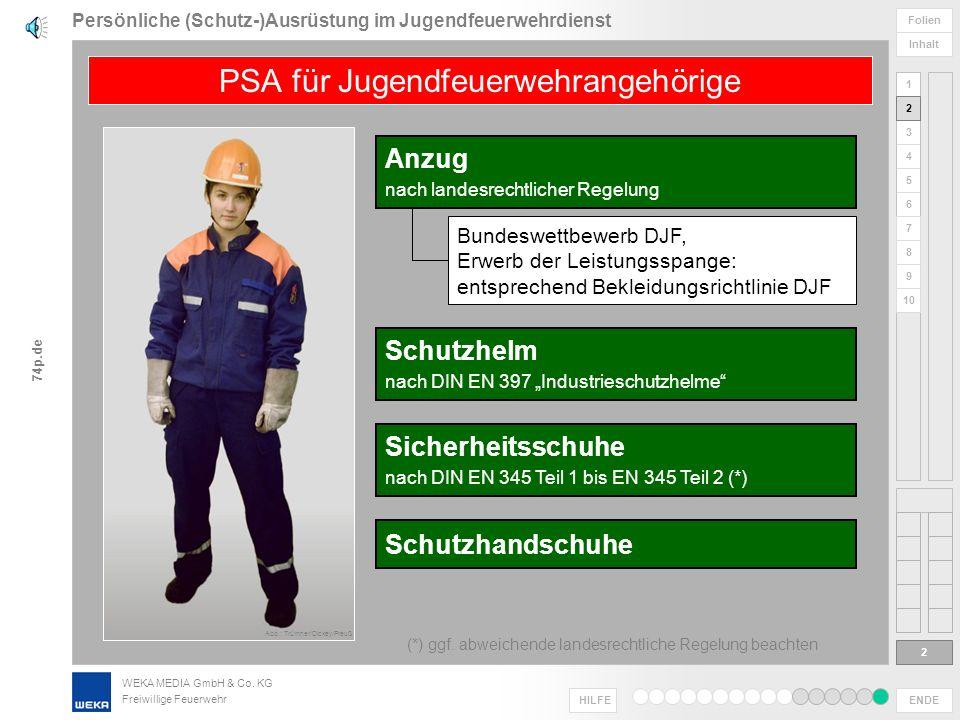 WEKA MEDIA GmbH & Co. KG Freiwillige Feuerwehr ENDE HILFE 1 2 3 4 5 6 Folien Inhalt 74p.de 7 8 9 10 Jugendfeuerwehrdienst Persönliche (Schutz-)Ausrüst
