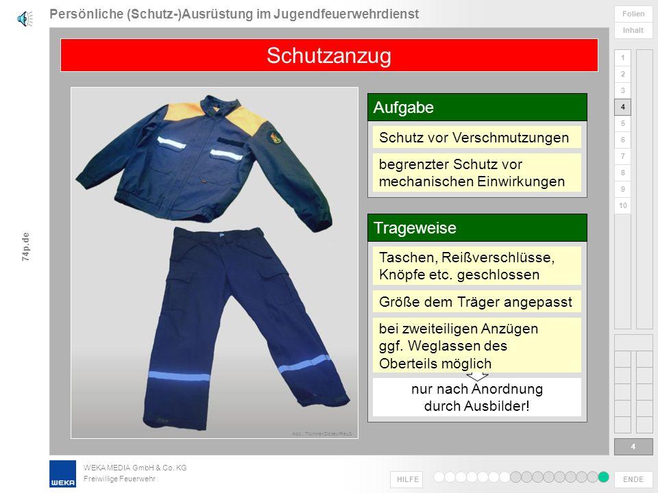 WEKA MEDIA GmbH & Co. KG Freiwillige Feuerwehr ENDE HILFE 1 2 3 4 5 6 Folien Inhalt 74p.de 7 8 9 10 Persönliche (Schutz-)Ausrüstung im Jugendfeuerwehr