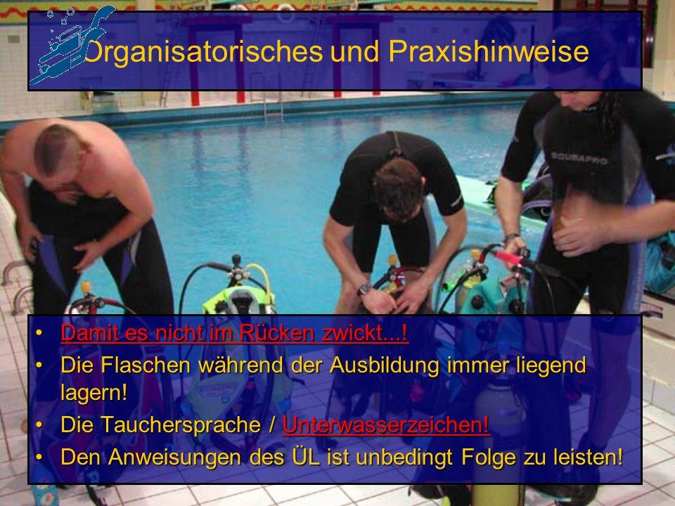 Praxis: Geräteübungen im Hallenbad oder Freigewässer Umgang mit dem TauchgerätUmgang mit dem Tauchgerät Training der TauchregelnTraining der Tauchrege
